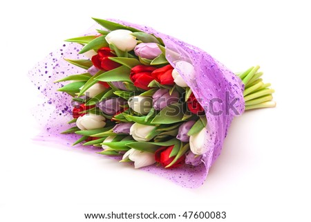 beautiful bouquet of tulips isolated on white - stock photo