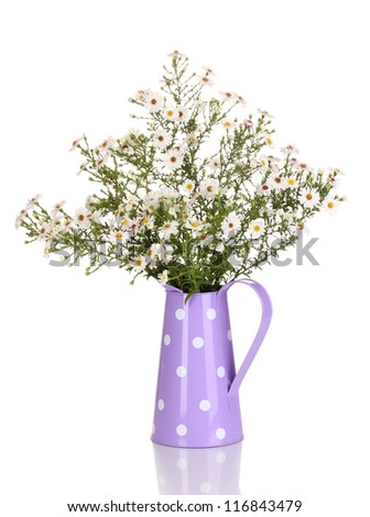 beautiful bouquet of white flowers in watering can isolated on white