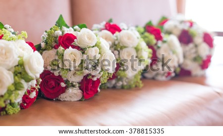 beautiful bouquet of white roses for wedding day