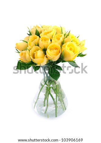 Beautiful bouquet of yellow roses - stock photo