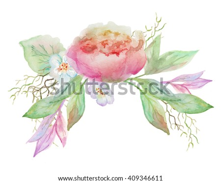 beautiful bouquet with watercolor flowers - stock photo