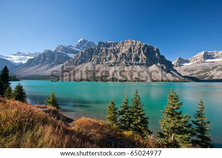 Beautiful Bow Lake of the Canadian Rockies - stock photo