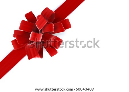beautiful bow with a ribbon. isolated on white - stock photo