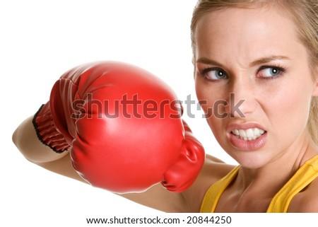 Beautiful Boxing Woman - stock photo