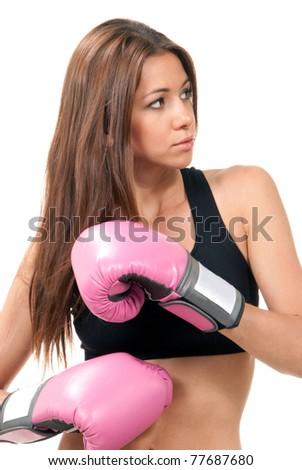 Beautiful Boxing Woman in pink box gloves isolated on a white background - stock photo