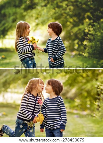 Beautiful boy and girl in a park, boy giving flowers to the girl. Friendship concept, outdoor, collage of two pictures - stock photo
