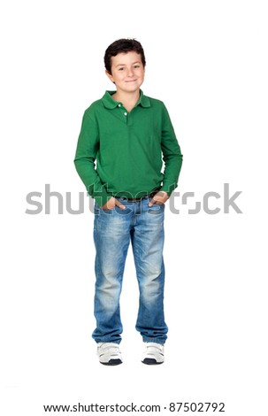 Beautiful boy dressed in green isolated on a over white background - stock photo