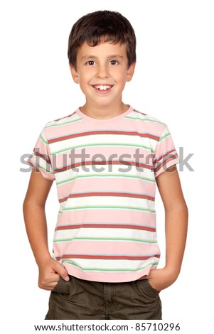Beautiful boy isolated on a over white background - stock photo
