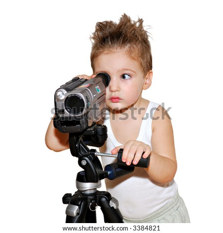 Beautiful boy looking in video camera on white background