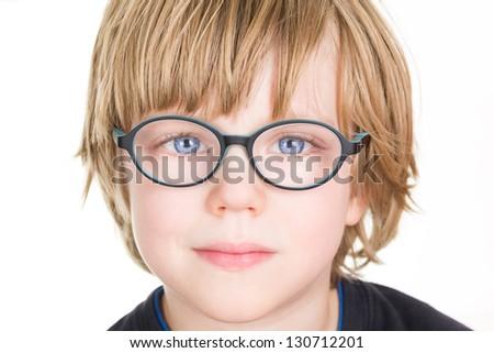 Beautiful boy with glasses - stock photo