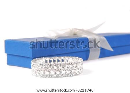 Beautiful Bracelet by Gift Box - stock photo