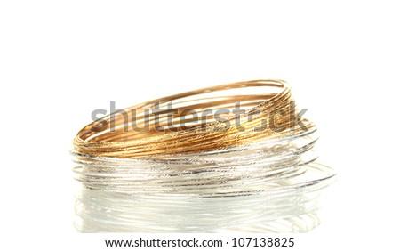 Beautiful bracelet isolated on white background - stock photo