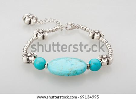 beautiful bracelet turquoise gemstone - stock photo