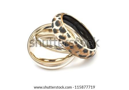 Beautiful bracelets isolated on white background - stock photo