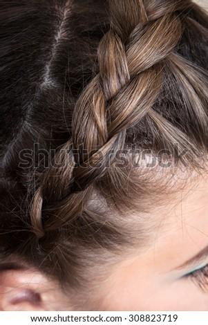beautiful braid girl close up - stock photo