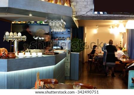 beautiful brand new european restaurant in downtown - stock photo