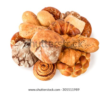 beautiful bread on a white background and sweets