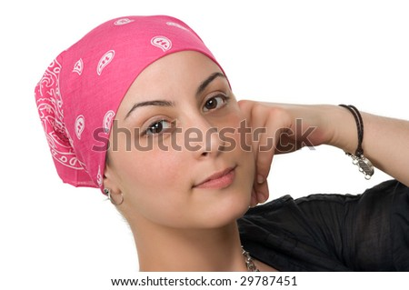 Beautiful breast cancer survivor with bandanna ( 2 months after chemo) - stock photo