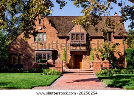Beautiful brick house - stock photo