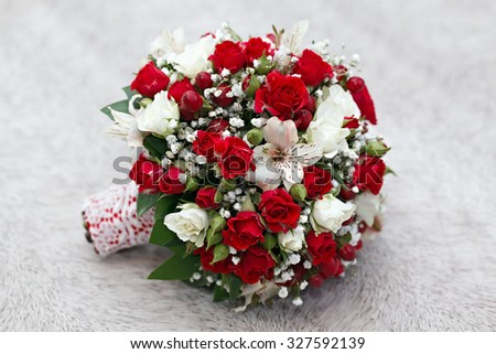 beautiful bridal bouquet at a wedding party  - stock photo