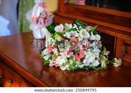 beautiful bridal bouquet of flowers. - stock photo