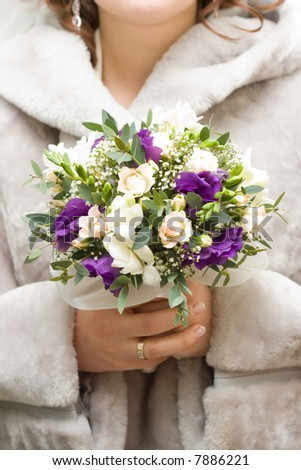 beautiful bridal bouquet of flowers, low DOF