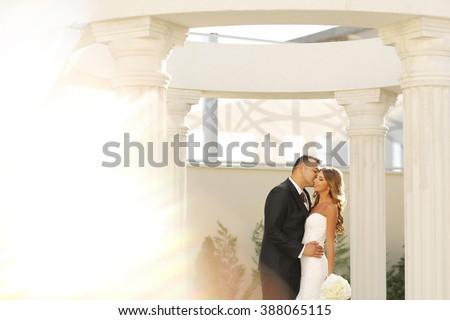Beautiful bridal couple embracing near columns - stock photo