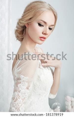 beautiful bride and beautiful wedding dress - stock photo