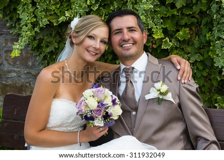 beautiful bride and groom after weddeing ceremony