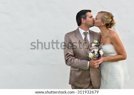 beautiful bride and groom after wedding ceremony