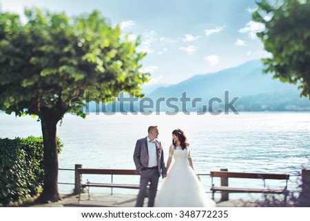 Beautiful bride and handsome groom holding hands lake and mountains in backrgound