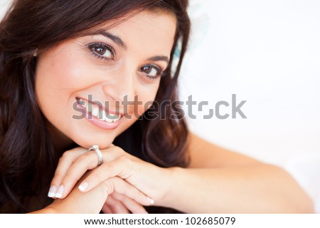 beautiful bride closeup portrait - stock photo