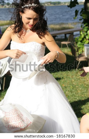 beautiful bride getting a plate - stock photo
