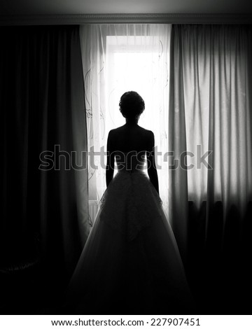 Beautiful bride in front of a window - stock photo