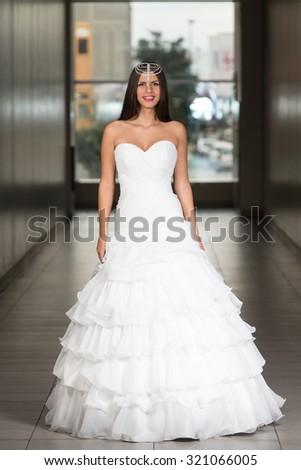 Beautiful Bride In Her Wedding Dress - stock photo