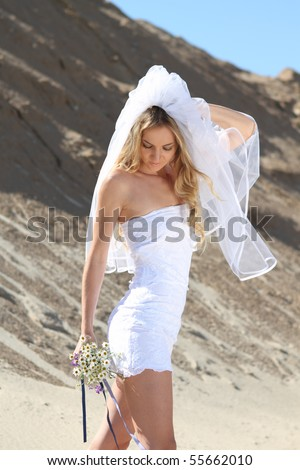 Beautiful bride in her white dress on a windy summer day - stock photo