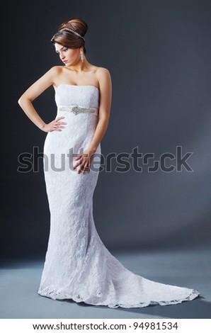 Beautiful bride in studio shooting - stock photo