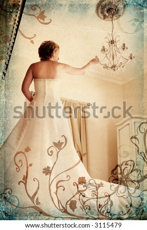 Beautiful bride in white dress on grunge romantic floral background touching antique chandelier - stock photo