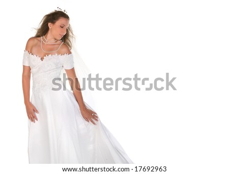 Beautiful Bride Looking Down With Copyspace - stock photo