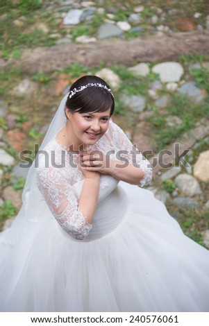 Beautiful bride on wedding day - stock photo