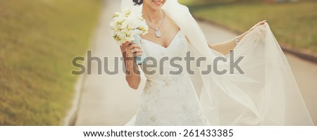 Beautiful bride on wedding day.  - stock photo
