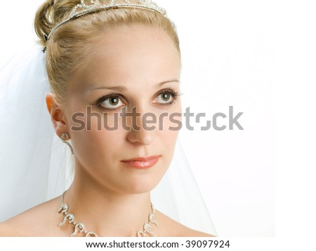 Beautiful bride portrait in the white background