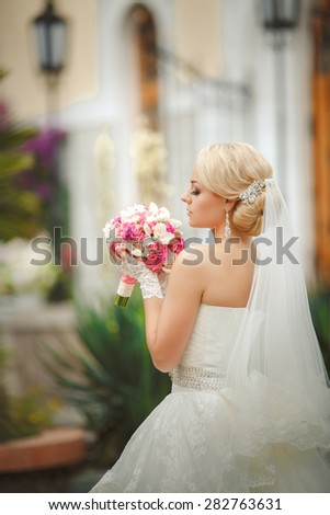 Beautiful bride Portrait Outdoors woman in wedding dress marriage day girl in white dress, happy newlywed woman smiling in bridal dress, soft focus, series