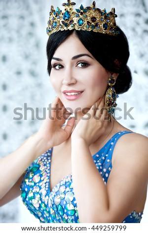 Beautiful Bride Portrait wedding makeup and hairstyle, girl in diamonds tiara, jewelry model, fashion bride gorgeous beauty, series - stock photo
