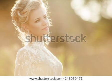 Beautiful Bride Portrait wedding makeup, wedding hairstyle, Wedding dress. Wedding decoration. soft selective focus. - stock photo