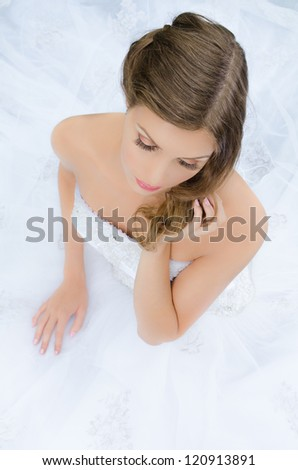 Beautiful bride shooting for a wedding pictorial