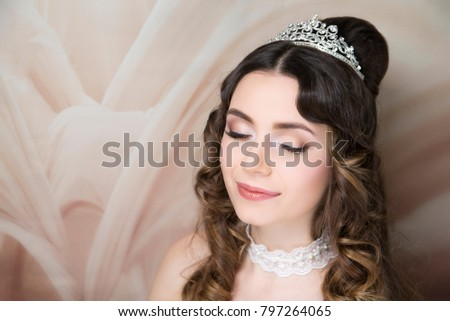 Beautiful bride style. Close-up portrait beauty girl woman lady, volume hair-do. Luxury hair styling. Shiny shadows make-up, lip-gloss lipstick. Professional photo model person, new horizontal banner