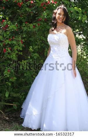 beautiful bride vertical - stock photo