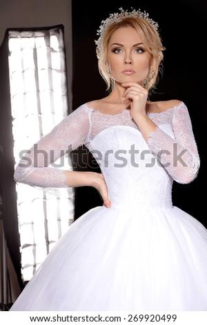 Beautiful bride. Wedding hairstyle - stock photo