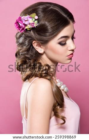 Beautiful bride. Wedding hairstyle. Romantic girl - stock photo